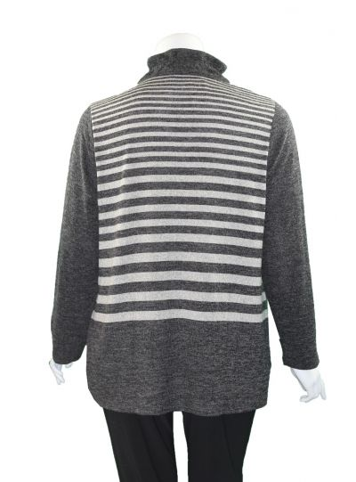 Terra Plus Size Charcoal Pullover Striped Top P5211