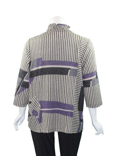 Terra Plus Size Black/Purple/Grey Striped Top P4280