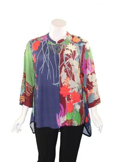 Citron Plus Size Floral Button Blouse 2030
