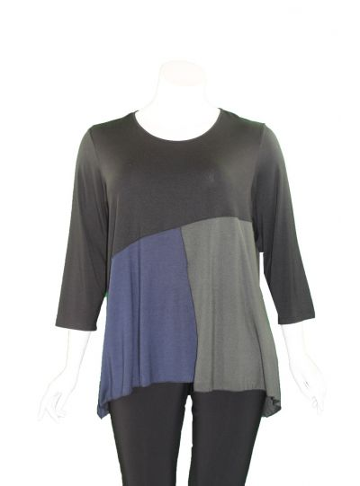 Comfy Plus Size Black/Navy/Olive Color Block Top M1017