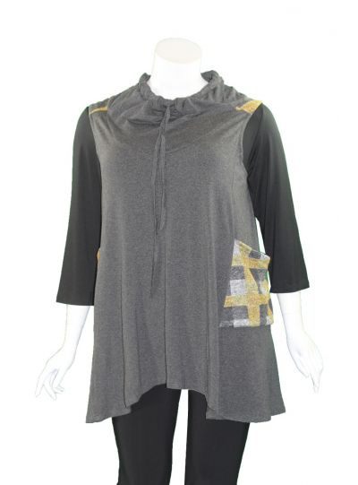 Avivit Yizhar Plus Size Grey/Yellow Sleeveless Cowl Neck Pullover 4210