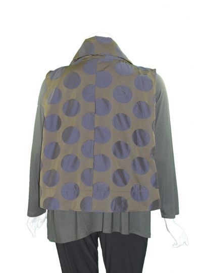 Comfy/ Sun Kim Plus Size Olive/Navy Dot Vest ME509