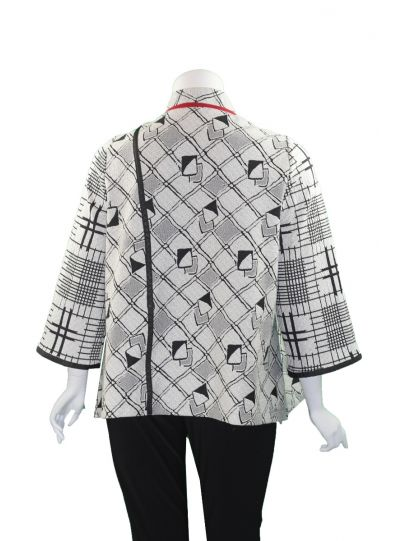 Moonlight White/Black/Red Button Front Jacket 2962
