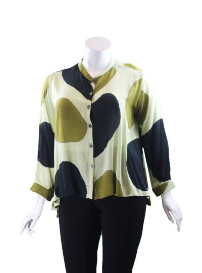 Adverb Plus Size Avocado After L/S Short Top 7029