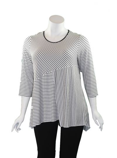 Comfy Plus Size Black/White Striped Stacey Top WM1016