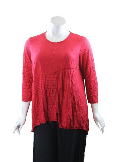 Comfy Plus Size Red Pinstriped Crinkle Amy Top WC650P