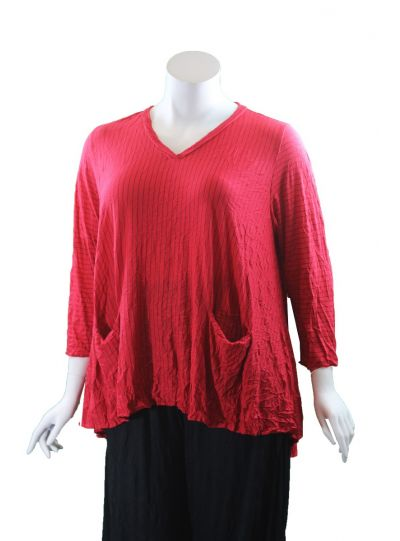 Comfy Plus Size Red Striped Vicki Tunic WC640P