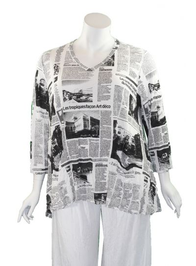 Comfy Plus Size News Print Crinkle Vicki Tunic WC640P