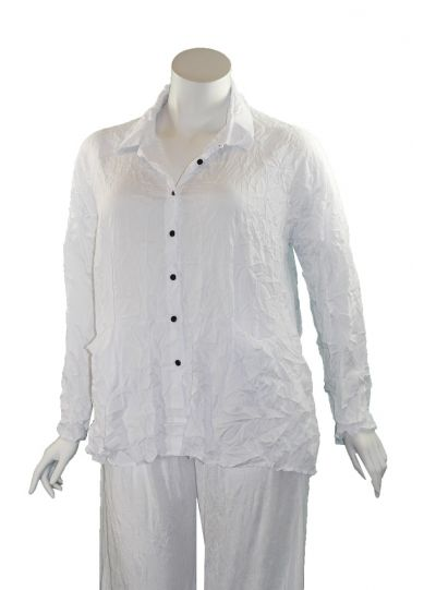 Comfy Plus Size White Crinkle Mindy Shirt WCD140