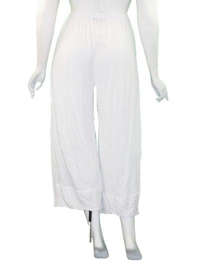 Comfy Plus Size White Crinkle Pandora Crop Pant C240