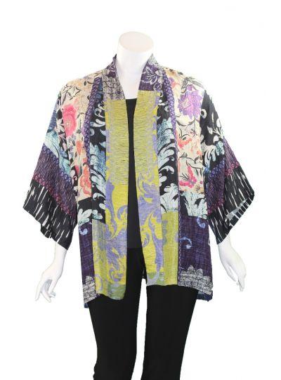Dressori Plus Size Floral Printed Open Front Kimono W0148BK20-24