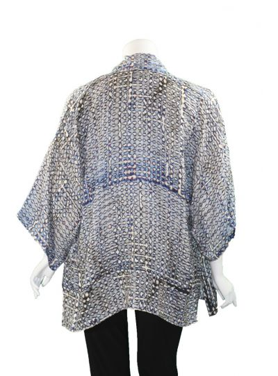 Dressori Plus Size Cream/Blues Printed Silk Jacket W0148DA20-44