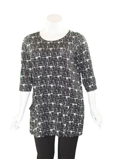 Q' Neel Plus Size Black/White Printed 2 Pocket Tunic 83188-8708
