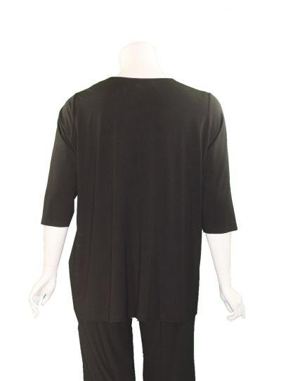 Q' Neel Plus Size Black Pullover Style Tunic 84992-2428-90