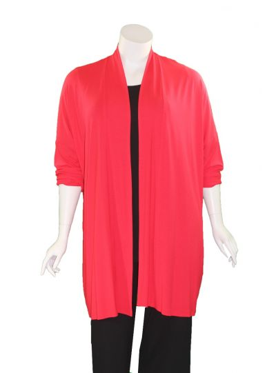 Q' Neel Plus Size Red Open Front Jacket 87598-2428-461