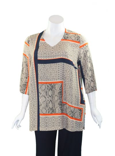 Q'Neel Plus Size Navy/Orange/Tan Printed Tunic 83037-8689