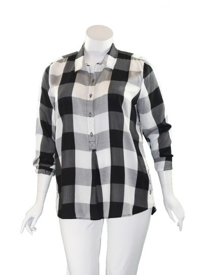 Multiples Plus Size Black/White Check Half Button Blouse M10112TW