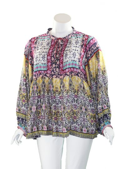 Caite Plus Size Multi Printed Baby Doll Blouse KYCO457