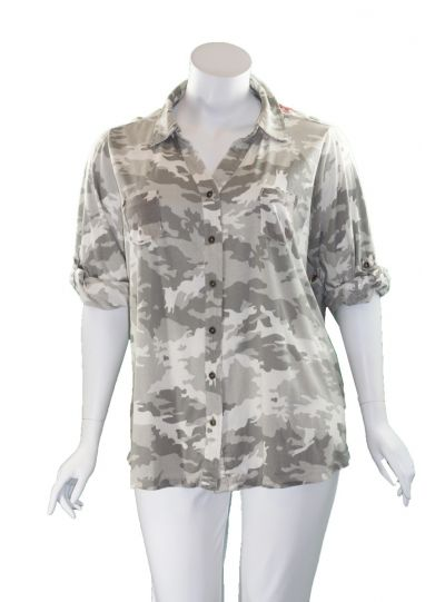 Caite Plus Size Light Camo Button Shirt CTCO435