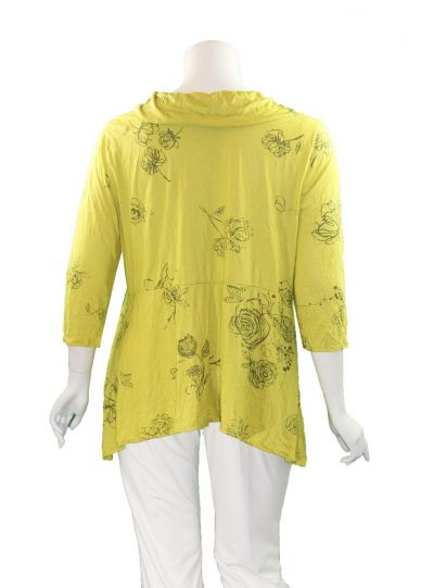 Chalet Plus Size Celery Raine Print Crinkle Tunic XCB93060