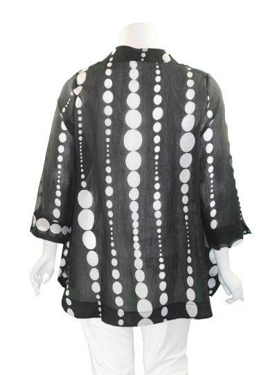 Terra Plus Size Black/White Polka Dot Button Sheer Jacket P4325