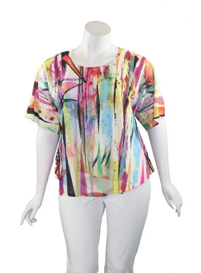 Et' Lois Plus Size Multi Printed Short Top C2007-2020 307