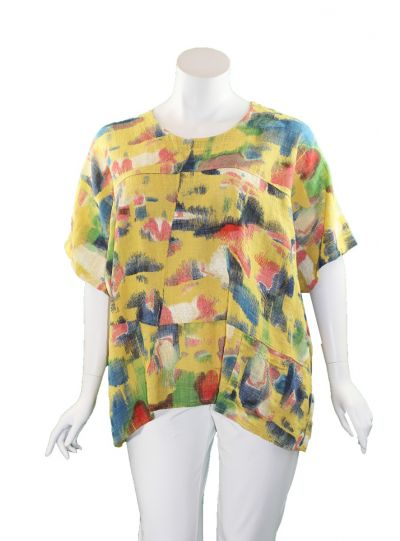 T by Transparente Mustard Printed One Pocket Shirt 6551
