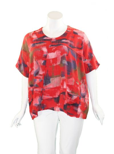 T by Transparente Red Printed One Pocket Shirt 6551