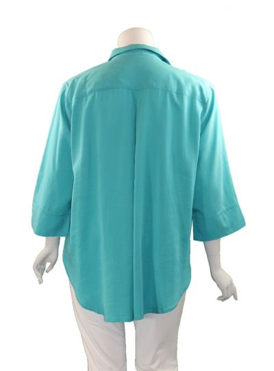 Way Plus Size Turq Button Front Shirt 2400-113