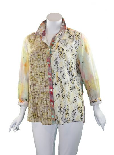 Way Plus Size Multi Printed Button Blouse 9500-1