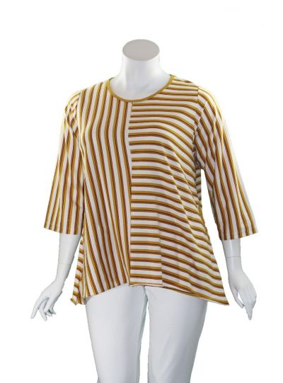 Flutter Plus Size White/Yellow Striped Juliette Top SH1005