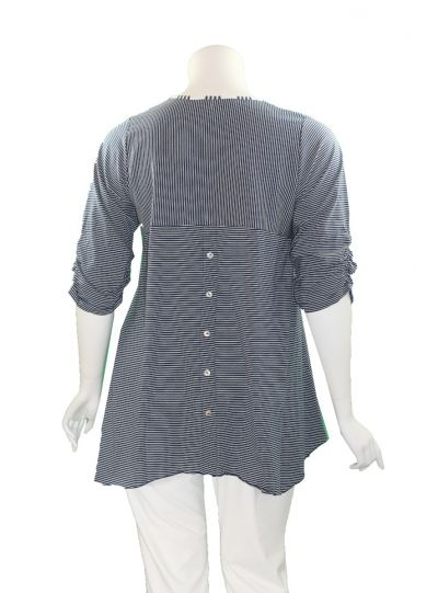 Flutter Plus Size Navy/White Striped One Pocket Tunic SH804