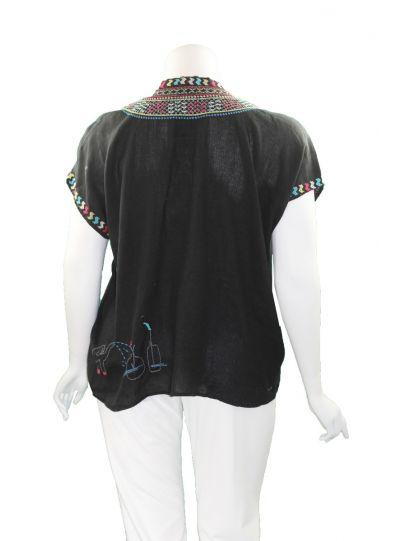 Pete & Greta Black Nandi Linen Blouse P16720-1