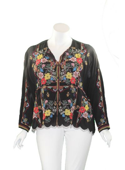Johnny Was Plus Size Black Cabo Button Down Blouse C10520