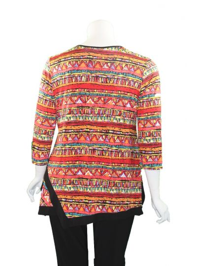 Caribe Plus Size Multi Printed Swing Tunic XC1218P146