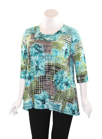 Caribe Plus Size Multi 2 Pocket Swing Tunic XC1431P41