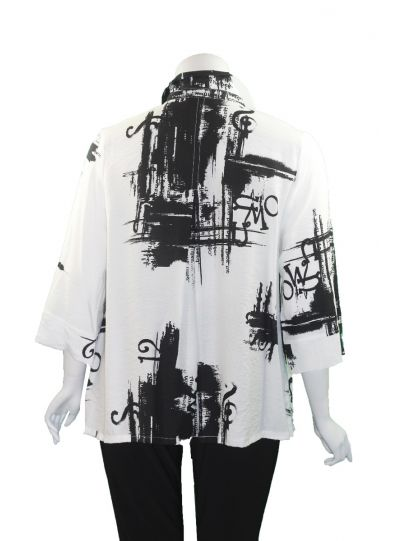 Moonlight White/Black Button Front Shirt 3007-20