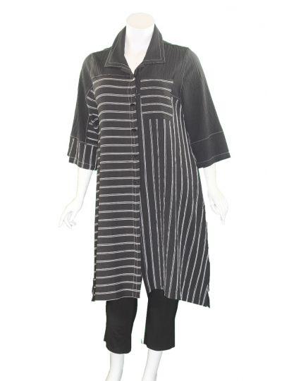 Moonlight Black/White Long Dress Coat 3025