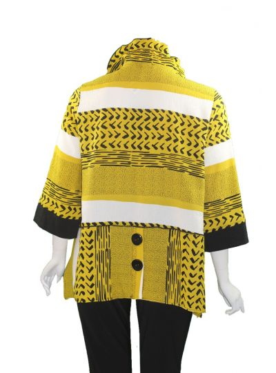 Moonlight Black/White/Yellow Button Jacket 2643