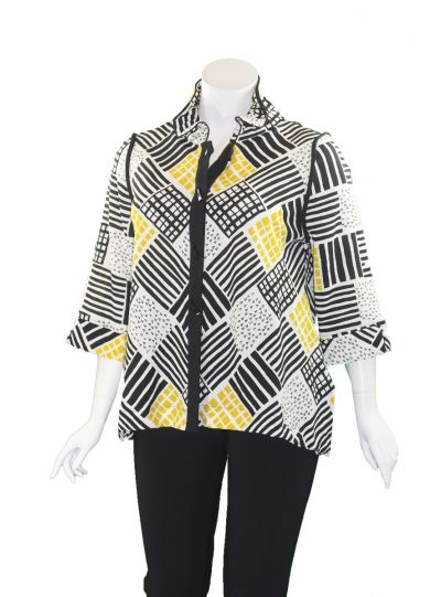 Moonlight Black/White/Yellow Button Front Jacket 2849