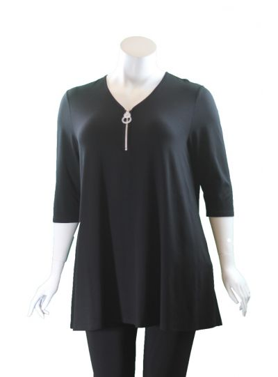 Doris Streich Plus Size Black Half Zip Circle Tunic 472-270-99
