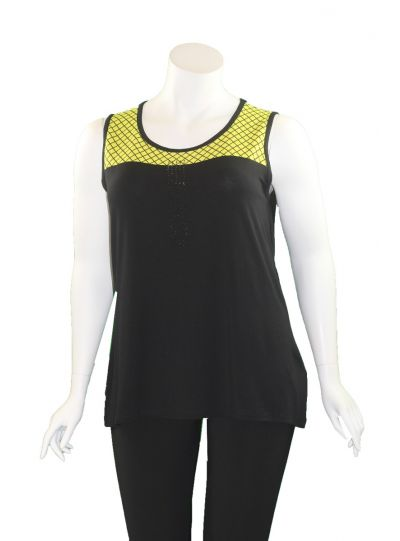 Doris Streich Plus Size Black/Lime Sleeveless Cami 590-120-20
