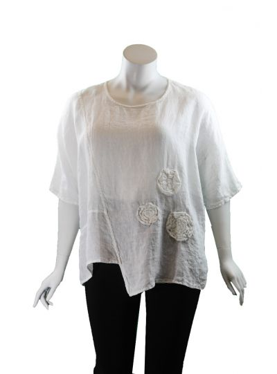 Cheyenne Plus Size White Flower Top GT1056