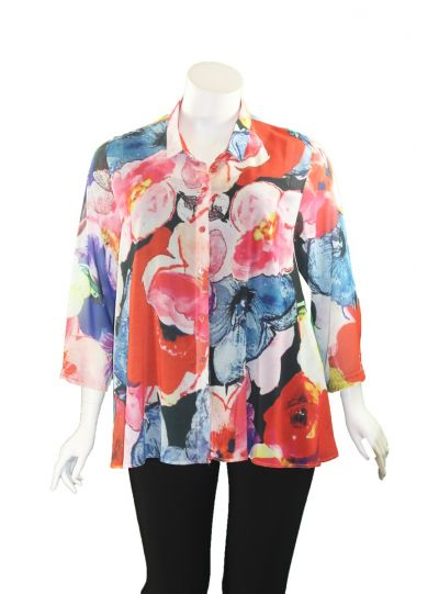 Staples Plus Size Sunset Poppy Button Blouse SU36