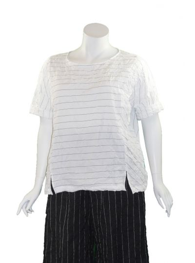 Chalet Plus Size White Striped Crinkle Tasha Top T92618