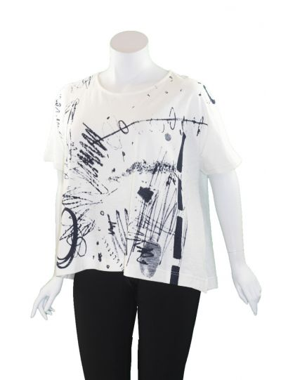 Moyuru White/Black Short Pullover Top 201008
