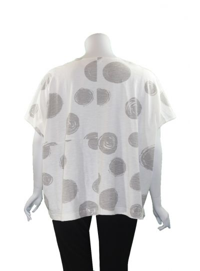 Moyuru White/Grey Dot Pullover Short Top 201010