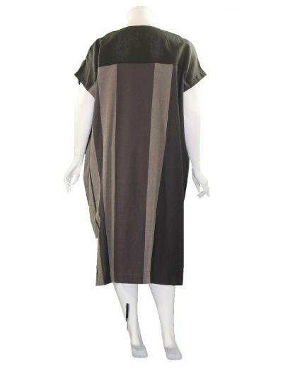 Moyuru Black/Brown Striped Pocket Dress 201731-39