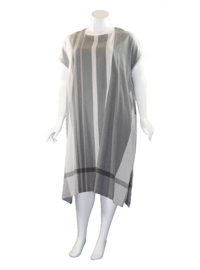 Moyuru Light Grey Striped Pocket Dress 201733-05