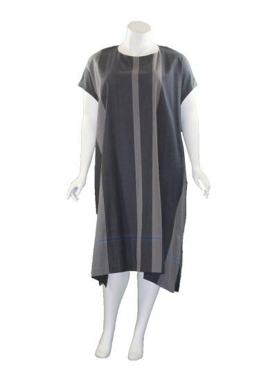 Moyuru Grey Striped Cotton Pocket Dress 201733